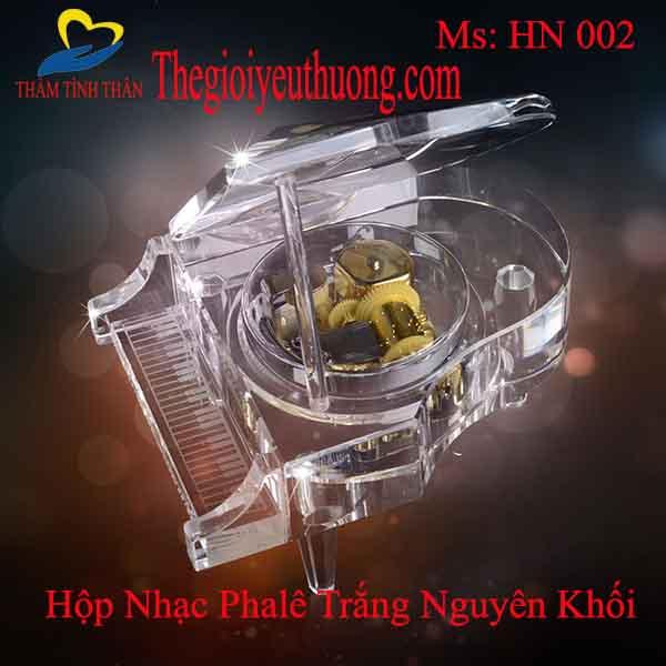 Hộp nhạc Dương cầm pha lê trắng MP3 Cỡ lớn hiệu ứng ánh sáng huyền ảo trên nền nhạc Du dương