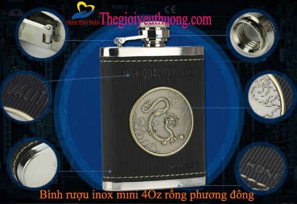 Bình đựng rượu inox mini Honest bỏ túi cao cấp 120 ml (4 oz) Inox 304