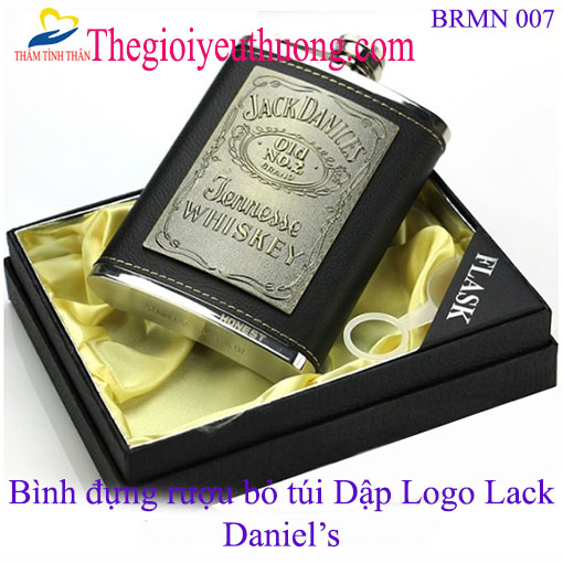 Bình đựng rượu Bỏ túi Honest 8oz bao da logo Jack Daniel's (230ml)