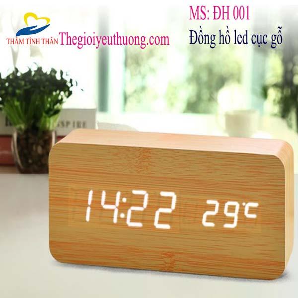 Đồng hồ Led để bàn Hình cục gỗ