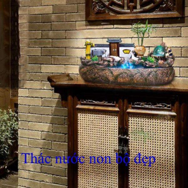 Hòn non bộ Thác nước mini cảnh Sân đình Việt, Nét đẹp làng quê hội tụ trên nền thác nước và Núi non. Trang trí phòng khách-Bàn tiếp khách Giúp thư giản, Giúp thư thái tinh thần