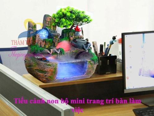 Mẫu Hòn non bộ mini nuôi cá để bàn Bể cá Mini Tuyệt Đẹp