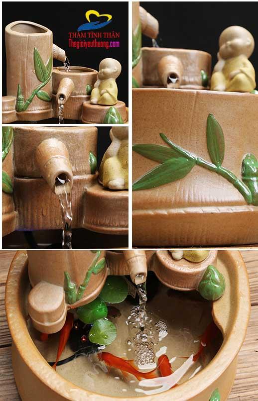 Các chi tiết tạo nên tác phẩm thác nước phong thủy mini tre việt