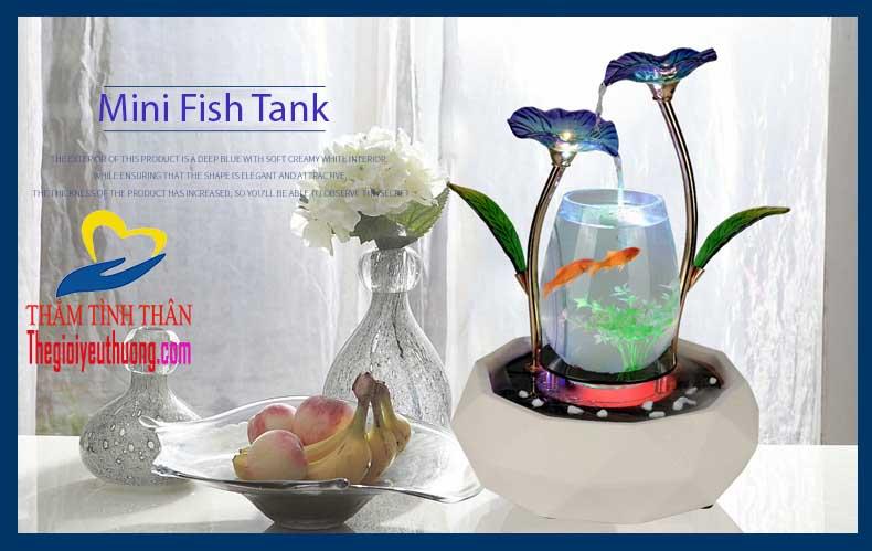 Bể cá mini một sáng tạo độc đáo trong bài trí Văn phòng, bàn khách