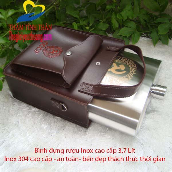 Bình rượu inox 304 CCCP Kèm bao da Đẹp 3,7 lít Loại Xịn Dày 0,06mm
