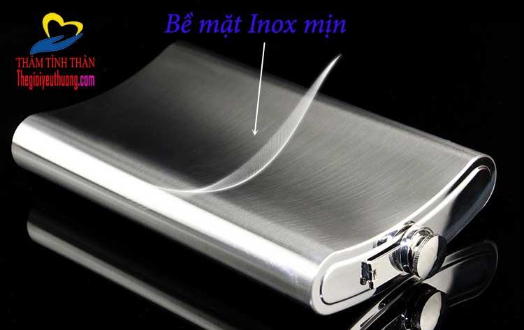 Bình Đựng rượu inox 2l Kèm bao da hở góc độc đáo, tiện dụng