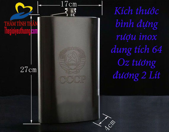 kích thước bình rượu inox 2l