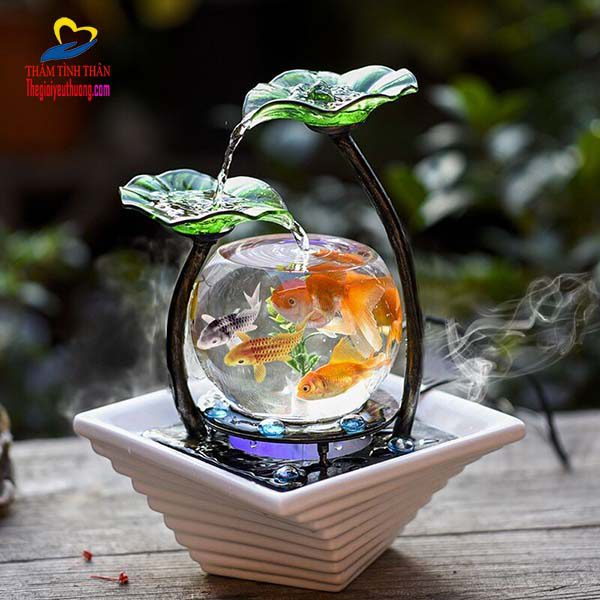 Bể cá mini tròn kết hợp thác nước mini Phong thủy