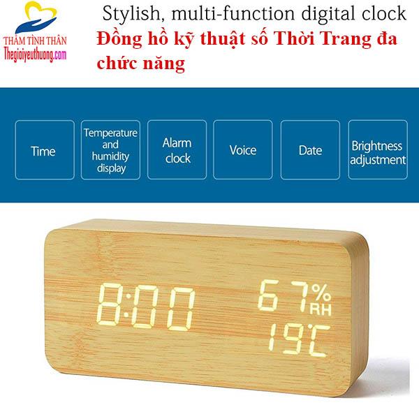 Đồng hồ led để bàn đa chức năng cục gỗ độc đáo