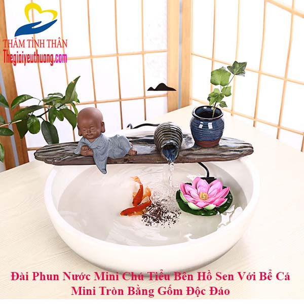 Bể cá thủy sinh mini để bàn tích hợp đài phun nước mini