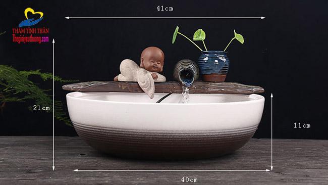 Kích thước đài phun nước mini bể cá để bàn Gốm Sứ