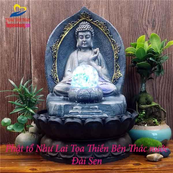 Tượng Phật Nhỏ Để Bàn, Đức Phật Tọa Thiền Bên Thác Nước Linh Thiêng