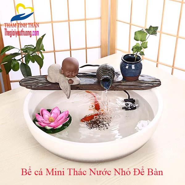 Bể Cá Thủy Sinh Mini Đài Phun Nước Nhỏ Chú Tiểu Ngắm Hồ Sen