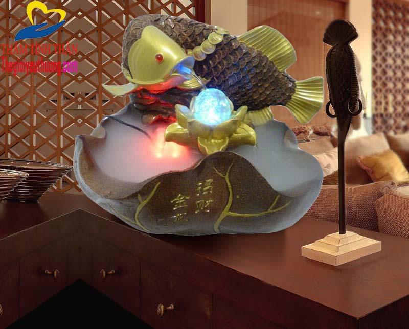 Thác nước phong thủy cá chép hóa rồng biểu tượng của ý chí, nghị lực và sự thông minh