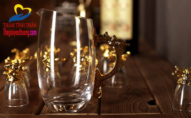 Bộ ly thủy tinh 12 con giáp mạ vàng