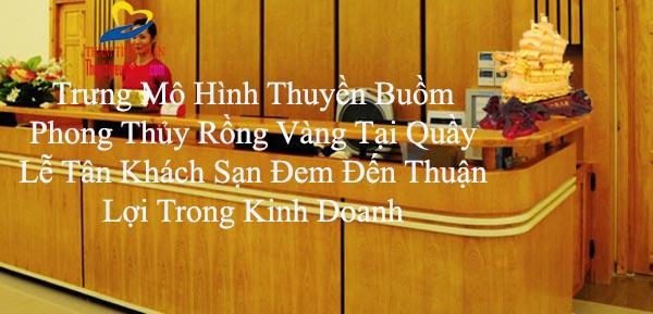Bài trí Thuyền buồm rồng vàng quầy Lễ Tân Khách Sạn