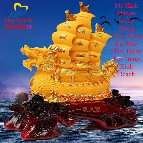 Mô hình Thuyền Buồm Phong Thủy Rồng Vàng Cầu May Mắn, Thuận Lợi