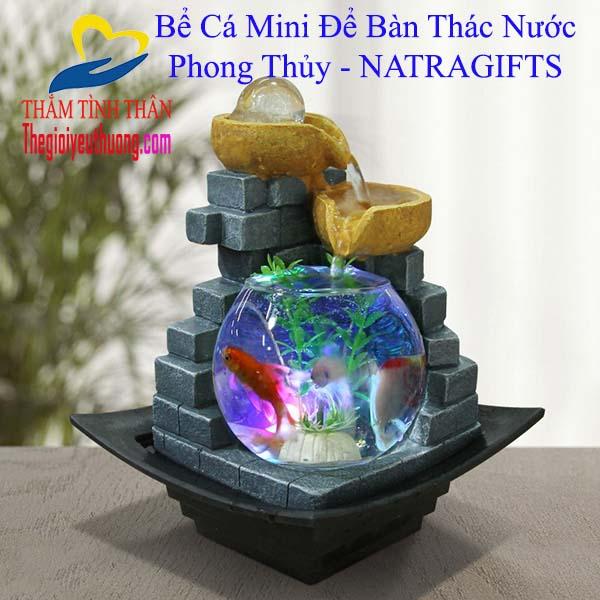 Bể Cá Mini Để Bàn Thác Nước Phong Thủy Món Quà Tặng Quyến Rũ