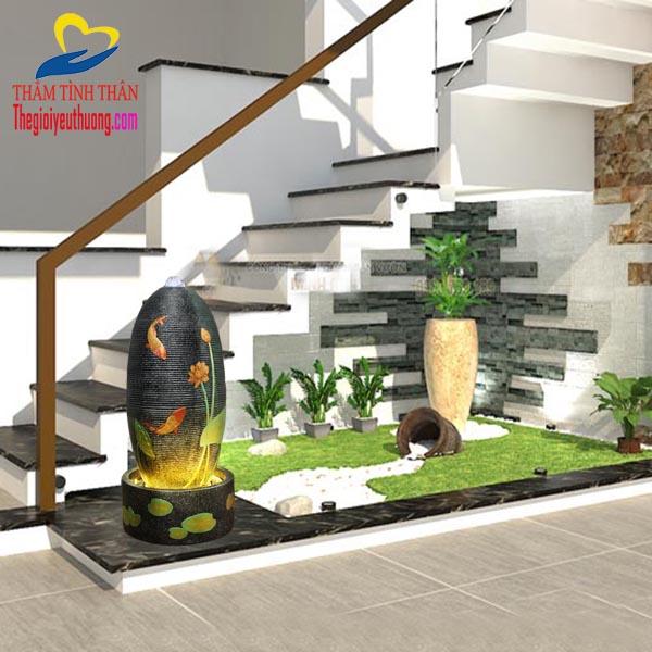 Thác nước phong thủy trang trí Gầm cầu thang, Món quà tân gia ý nghĩa