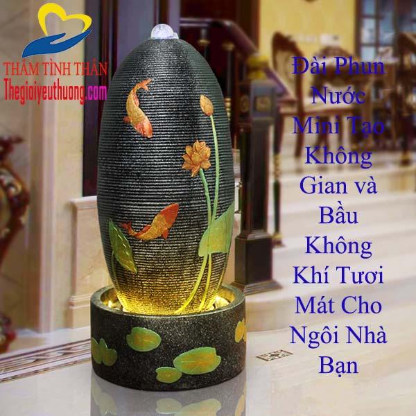 Đài Phun Nước Hình Trụ Cá Chép Bên Khóm Sen Hồng