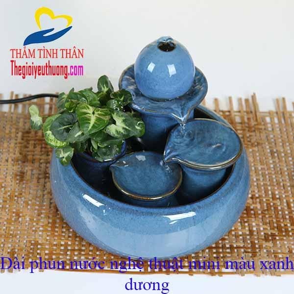 Mẫu Thác nước mini để bàn phong thủy bằng Gốm Màu xanh dương đẹp mắt