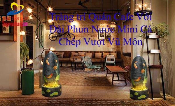 Điểm nhấn Khác biệt Cho quán cafe với Thác nước Mini Cá chép bên khóm sen Hồng