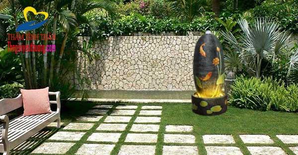 Trang trí sân Vườn với Thác nước mini phong thủy
