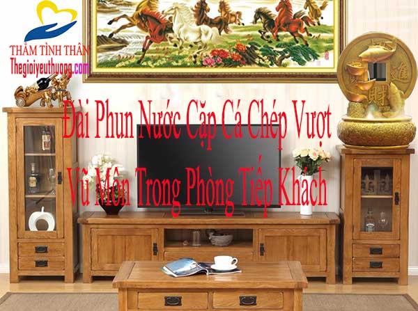 Trang trí phòng khách với đài phun nước mini Cá Chép Phong thủy