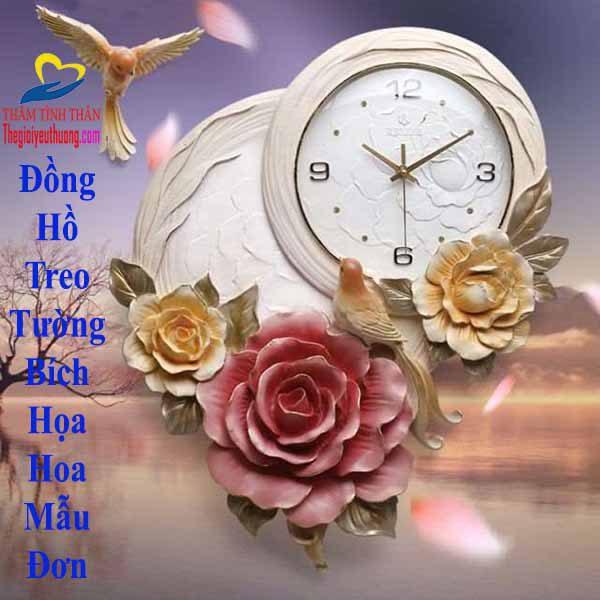 Đồng hồ treo tường trang trí Hoa Mẫu Đơn Mang đến May Mắn, phú quý