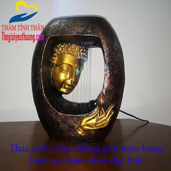 Thác Nước Phong Thủy Đức Phật Thưởng Sen