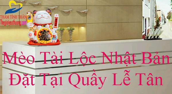 Vị trí đặt mèo thần tài tại quầy lễ Tân
