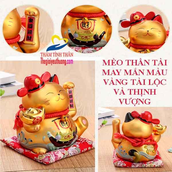 Mèo Maneki Neko Màu Vàng Cổ Điển – Biểu Tượng May Mắn Về Tài Lộc
