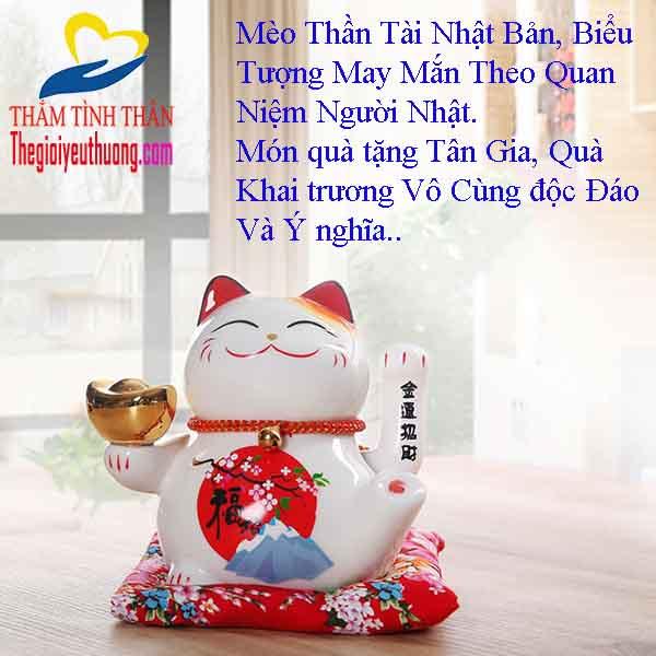 Mèo Thần Tài Nhật Bản MANEKI NEKO, Gốm Phủ Men Sáng Bóng, Thần Sắc Vui Vẻ