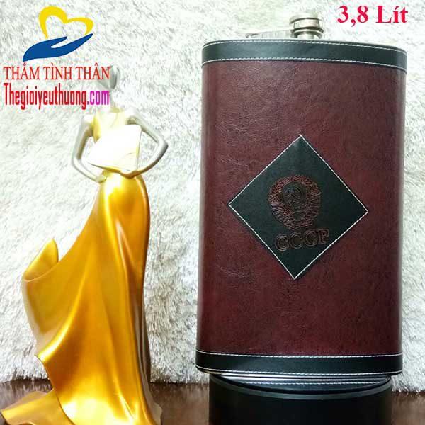 Bình đựng rượu INOX 304 cccp Bọc da 128 OZ