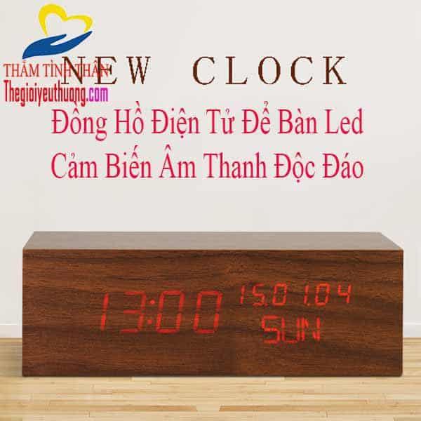 Đồng hồ để bàn led điện tử Cục gỗ