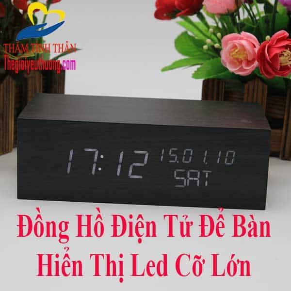 """Đồng Hồ Điện tử Led Để Bàn """"GẠCH ĐINH"""" Vân Gỗ Tuyệt Đẹp"""