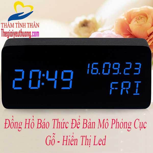 Đồng Hồ Gỗ Led Để Bàn Cảm Biến Âm Thanh Độc Đáo