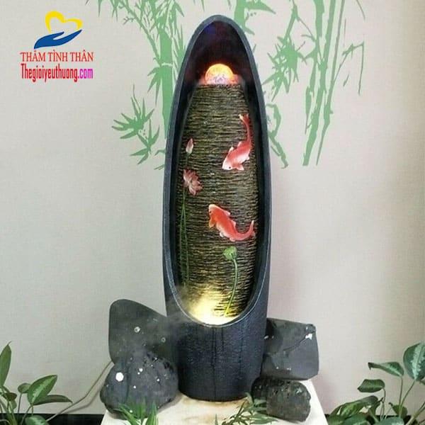 Mẫu Thác Nước Mini Phong Thủy Cá Chép Vờn Sen