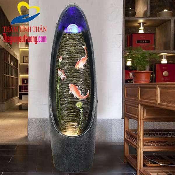 Biểu tượng Cá chép và Sen hồng tuyệt đẹp trên thân thác nước phong thủy trong nhà NATRA