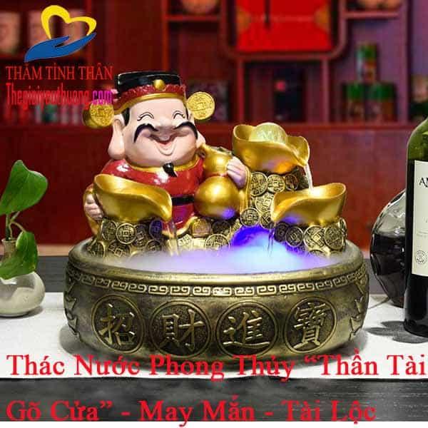 """Thác nước phong thủy mini để bàn """"Thần Tài Gõ Cửa"""""""
