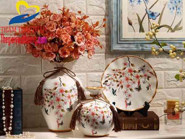Bộ Bình hoa giả trang trí phòng khách tạo không gian Độc Đáo
