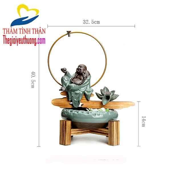 Kích thước thác nước phong thủy bằng gốm Phật Di LẶc