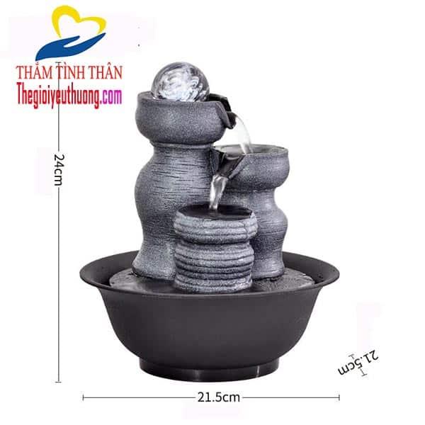 Kích thước Tác Phẩm thác nước phong thủy để bàn mini Tam Trụ ĐỈnh Ngọc