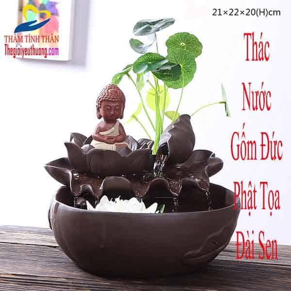 """Thác Nước Gốm Sứ """"Đức Phật Tọa Thiền Trên Đài Sen"""" Biểu Tượng Bình An, Hạnh Phúc"""