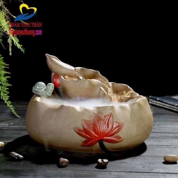 Thác nước phong thủy để bàn bằng gốm