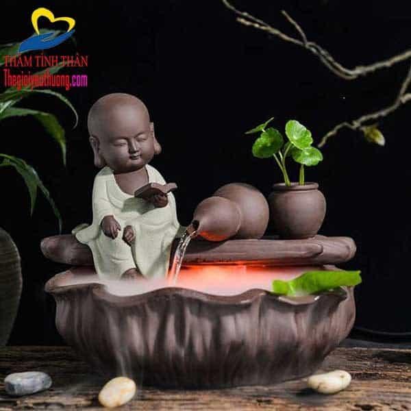 """Phong thủy luân bằng gốm phong thủy Chú Tiểu Đọc Sách Bên """"SUỐI HỒ LÔ MAY MẮN"""""""