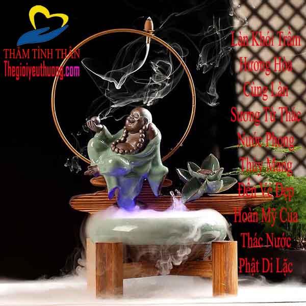 Thác nước phong thủy gốm sứ Đức Phật Di Lặc