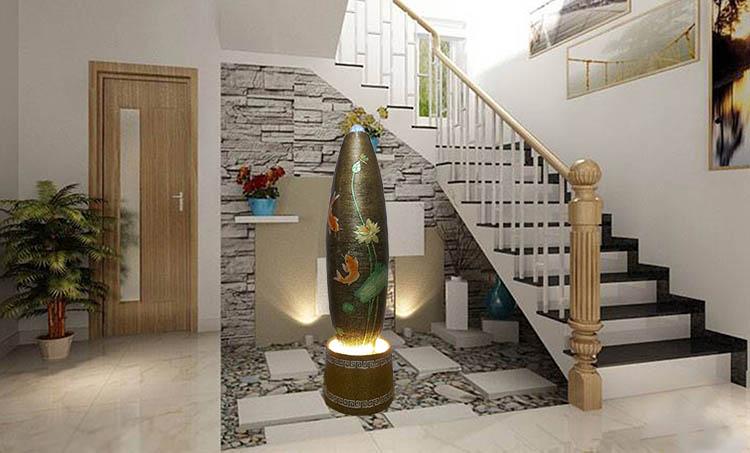 Trang trí nội thất phòng khách với đài Phun nước phong thủy trong nhà phong thủy