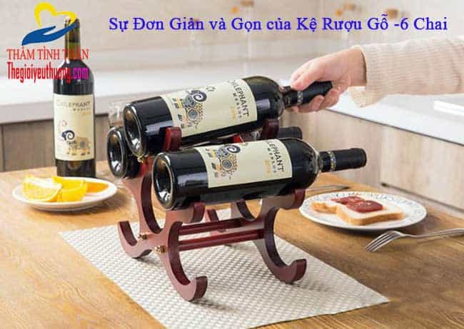 Kệ rượu gỗ - 6 chai đơn giản, nhỏ gọn