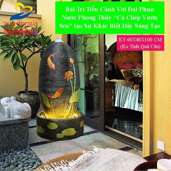 Góc sân vườn trong nhà với Đài phun nước trong nhà TRụ Cá Chép Vườn Sen